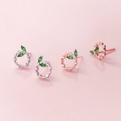 Piccoli cerchi e foglie - orecchini a bottone in oro rosa / argento - argento sterling 925