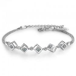 Elegancka bransoletka z kostkami - srebro 925