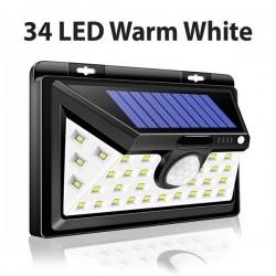 Luz solar LED - exterior - sensor de movimiento - pared - impermeable - 34 LEDS