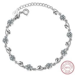 925 Sterling Silver - Zirconia - Love Heart Shaped Bracelets