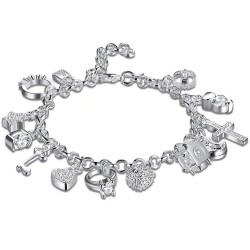 Elegancka bransoletka z 13 zawieszkami - srebro próby 925