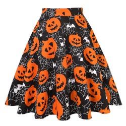 Vintage - falda de cintura alta - estampado de flores y Halloween - calaveras - algodón