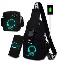 Świecąca torba na klatkę piersiową / ramię - plecak - port ładowania USB