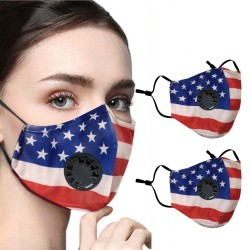 2 - 4 stück - PM2.5 - gesichts- / mundschutzmaske mit Luftventil und filter - wiederverwendbar - amerikanische flagge