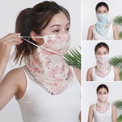 Chiffonschal - Gesichts- / Hals- / Mundschutz mit Ohrschlaufen - UV-Schutz
