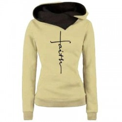 Autumn - Winter - Hoodies - Sweatshirts - Women - Faith Embroidered Print