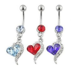Rhinestone - Love - Heart - Navel - Belly - Ring Piercing