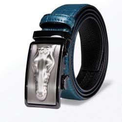Krokodilleder-Design - Ledergürtel mit automatischer Schnalle - blau