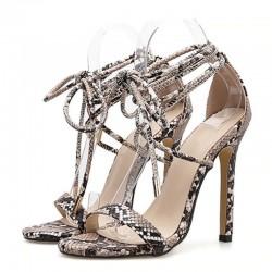 Elegant high heel sandals - lace-up pumps
