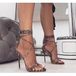 Sandales élégantes à talons hauts - escarpins à lacets