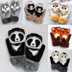 Kinder Winterhandschuhe mit Cartoon-Tieren - weiche Handschuhe