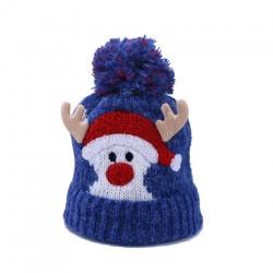 Warme Winterkindermütze mit Bommel - Weihnachtsmann - Rentierhörner