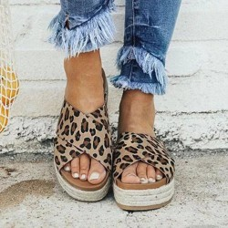 Leopard - Summer - Sandals - Women - Casual - Beach