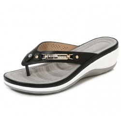 Elegant summer sandals - flip flops - metal and crystals decoration - comfortable