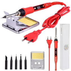 220V 80W - LCD - Electric - Soldering Iron - Adjustable - Red - Black
