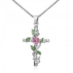 Anhänger mit Kreuz & Blättern & Rose - Edelstahl Halskette