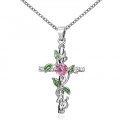 Pendant with cross & leaves & rose - stainless steel necklace