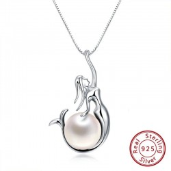 Pendant with mermaid & pearl - necklace - 925 sterling silver