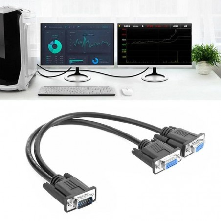 VGA to VGA Y splitter - connect 2 monitors - cable - male to female adapter