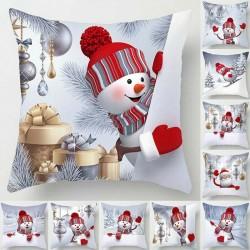Muñeco de nieve navideño - funda de almohada - funda de cojín - 45 * 45 cm