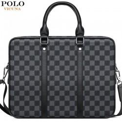Klassische Business-Tasche - Aktentasche aus kariertem Leder