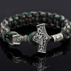 Vintage - braided viking bracelets - silver - camouflage