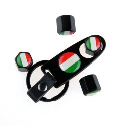 Italian flag - stainless steel - black - 4pcs/set - car wheel