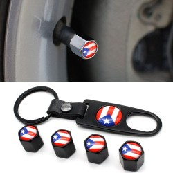 4Pcs - puerto rico flag - valve caps - 1Pcs leather wrench