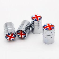 Tapones de válvula de aluminio - bandera del Reino Unido - 4 piezas