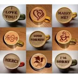 Kaffeedekoration - Plastikschablone - 16 Stück