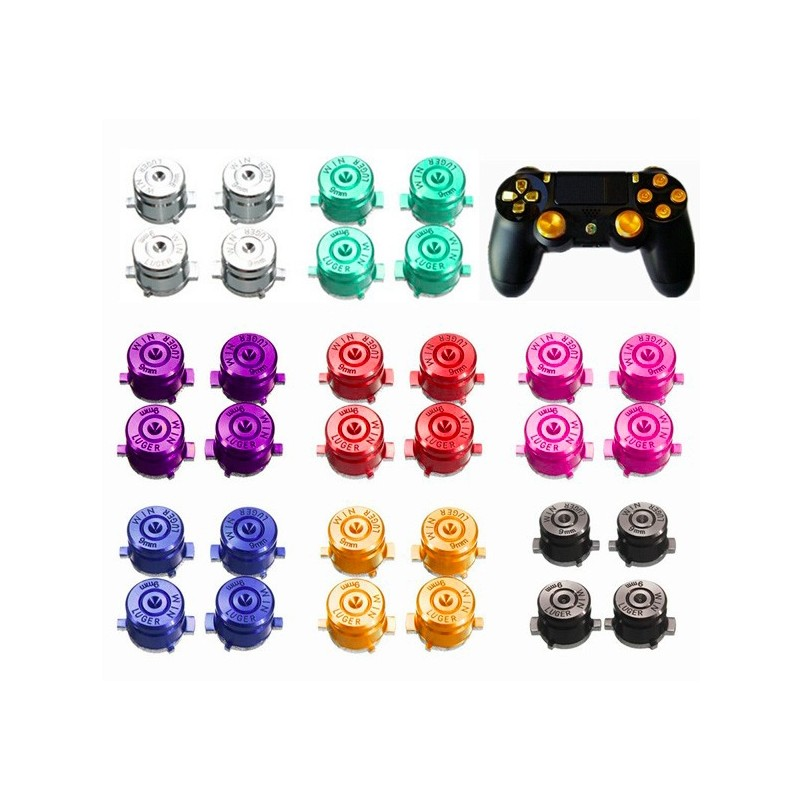 Playstation 4 PS4 9mm Bullet Metal Buttons 4 piezas