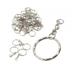 Silver blanc keyring with chain 55mm - 50 pieces