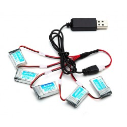 JJRC H20 hexacopter drone battery - 3.7V 150mAh - 5 pack - USB cable