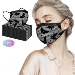 50 piezas - mascarillas faciales / bucales antibacterianas desechables - 3 capas - diseño de encaje