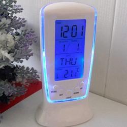 LED - blau leuchtende Digitaluhr - elektronischer Kalender - Thermometer - 7-Ton-Wecker