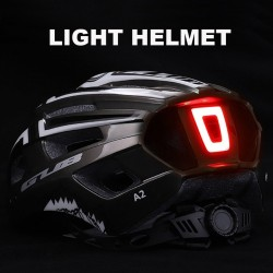 Bicycle helmet with Led light - rechargeable - integrally-molded - sports head protection