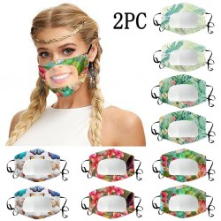 2 pieces - antibacterial face masks - transparent mouth cover - lip reading