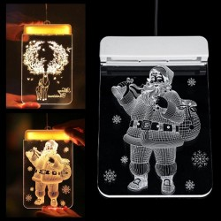 Weihnachts-3D-Dekoration für Tür / Fenster - LED-Licht - transparente Platte mit Saugnapf