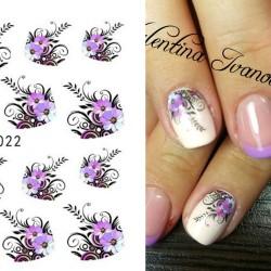 Nail Art-Aufkleber - Wasserübertragung - lila Blumen