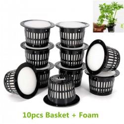 Maschentopf - Korb - für Pflanzen- / Gemüseanbau im Hydroponiksystem - mit Schaumstoffeinlage - 10 Stück
