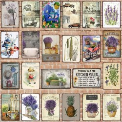 Vintage flowers - garden rules - metal sign - poster
