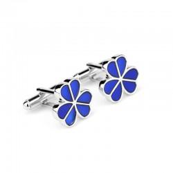 Boutons de manchette en argent - fleurs en émail bleu