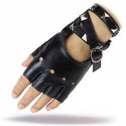 Half finger leather gloves - with rivets & buckle - Rock / Punk style