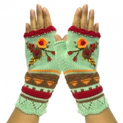 Knitted winter gloves - half-finger design - with a flowery embroidery
