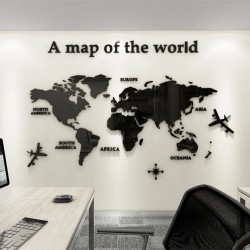 3D world map - acrylic wall sticker