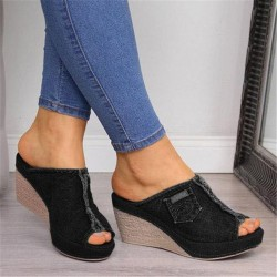 High Heels - Denim Slippers - Black - Blue