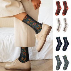 Embroidery Flower Socks - Ethnic Style