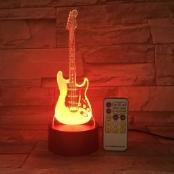 Remote Guitar Night Light - 3D 0 LED Lamp - 7 Colors