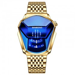 Luxury Quartz watch - waterproof - geometric shape - gold - silver