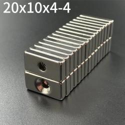 Imanes de neodimio N35 - bloque de imán fuerte 20 * 10 * 4 mm con orificio de 4 mm - 10 piezas